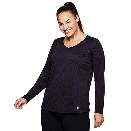 Women's Long Sleeve V-Neck with Side Slit, Black, swatch