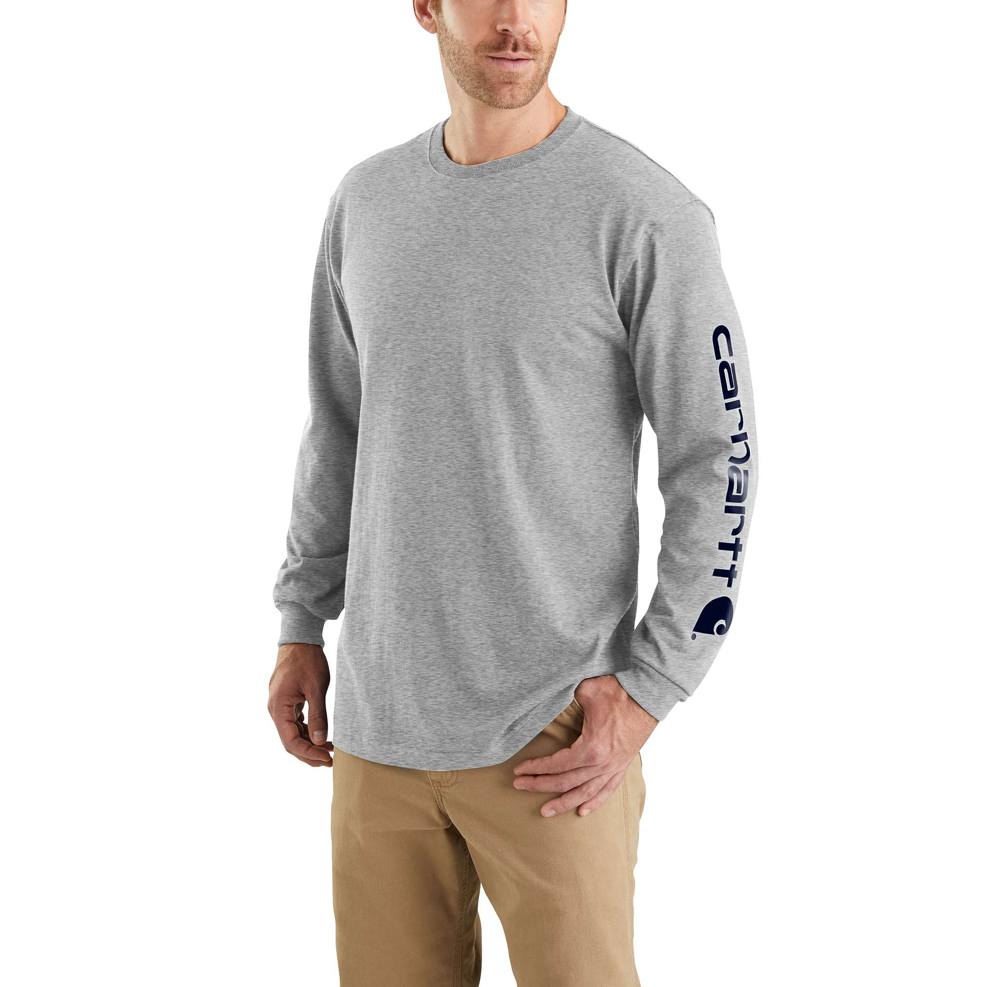 Men's  Long Sleeve Signature Logo Tall Tee, Heather Gray, swatch