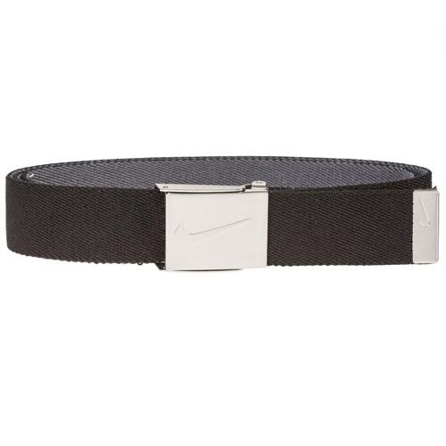 Men's Reversible Stretch Webbing Golf Belt, Black/Gray, swatch