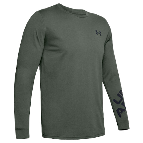 Men's Under Armour Wordmark Long Sleeve Tee, Dkgreen,Moss,Olive,Forest, swatch