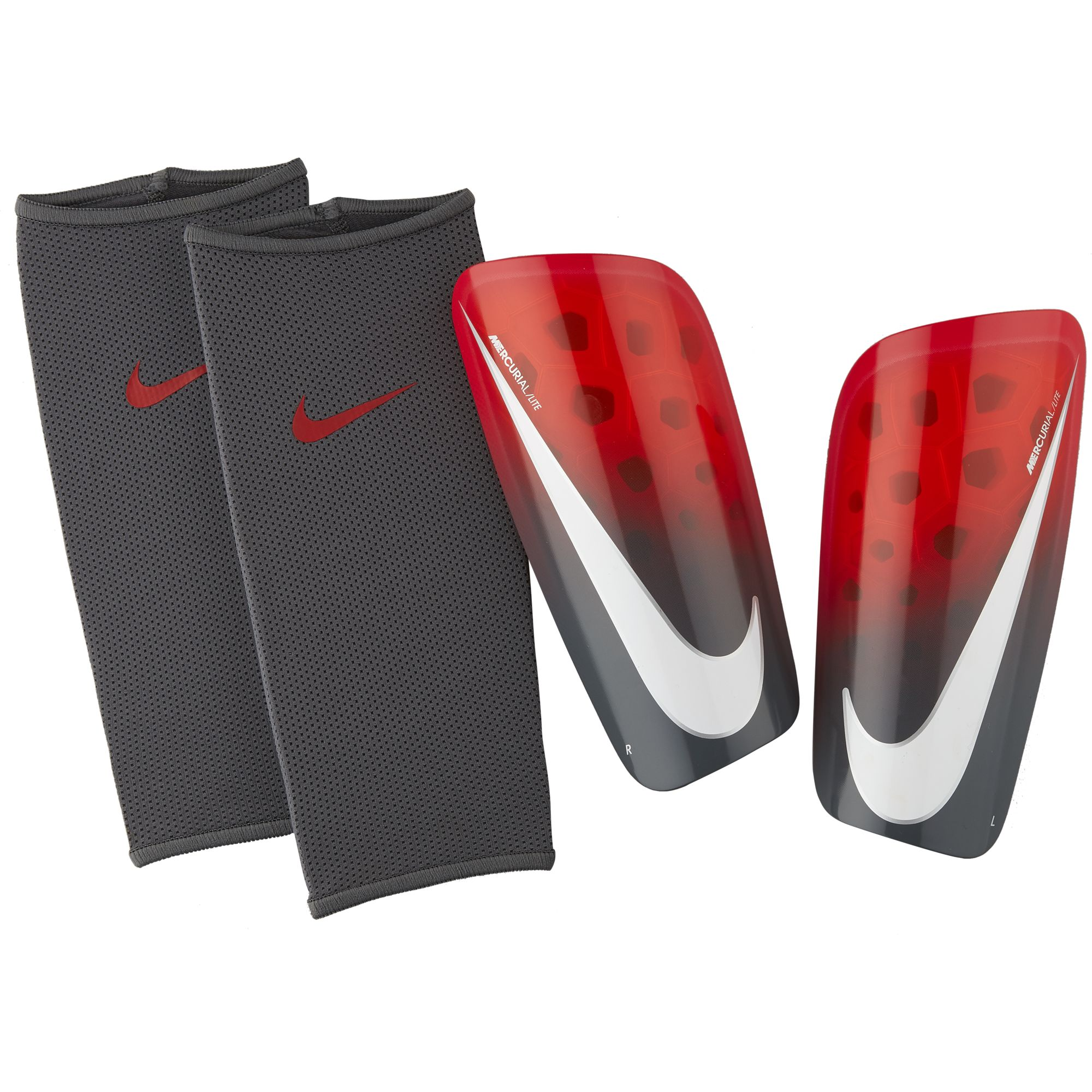 Mercurial Lite Shin Guards, Gray/Red, swatch