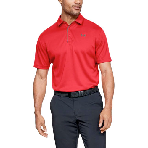 Men's Tech Short Sleeve Polo, Red, swatch