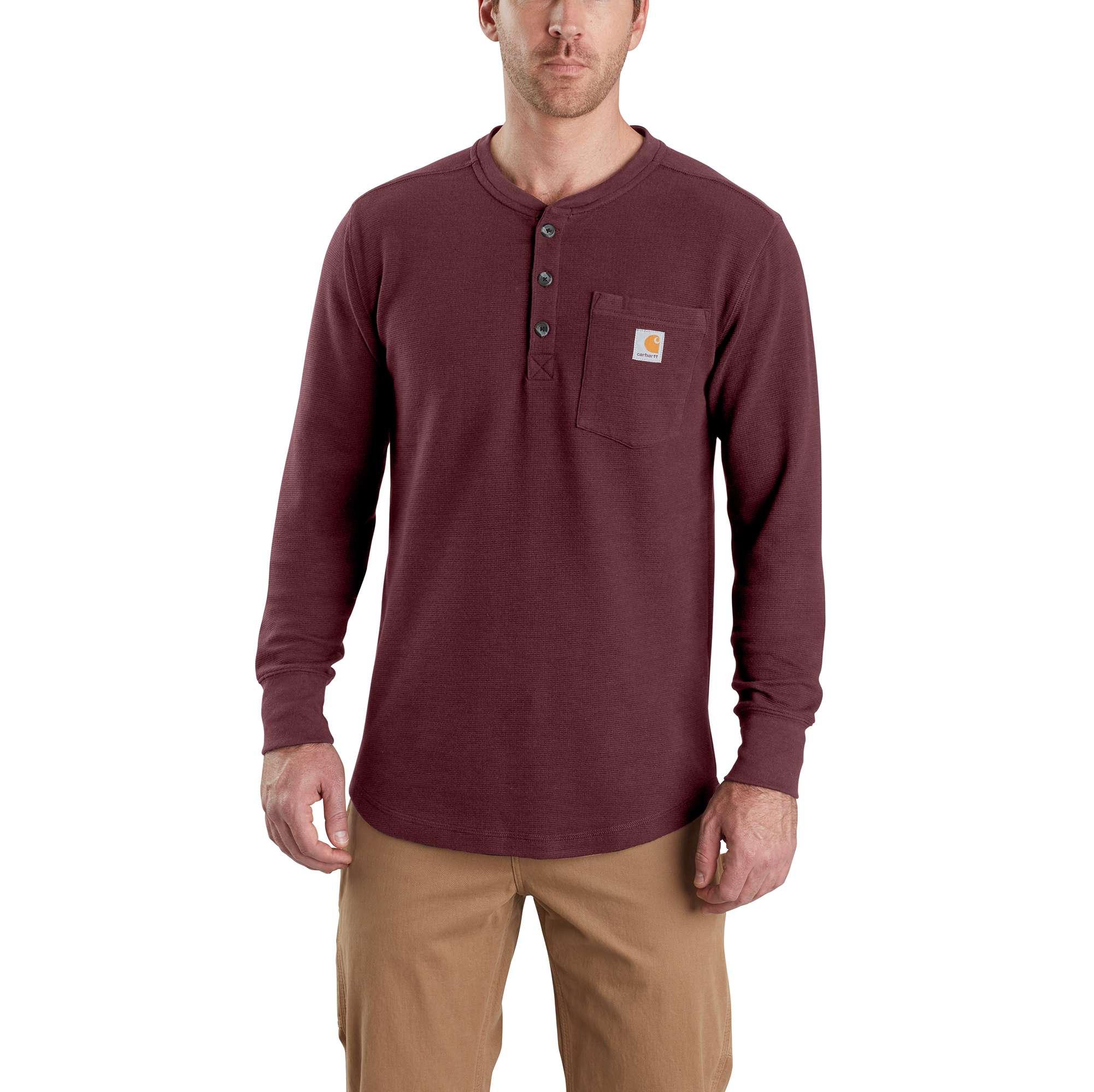 Men's Tilden Long Sleeve Henley Shirt, Crimson, swatch