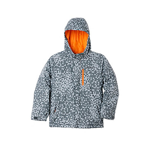 Boys' Lightning Lift Insulated Ski Jacket, Gray/Orange, swatch