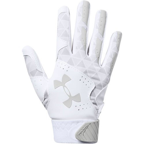 Youth Radar Fast Pitch Batting Gloves, White/Silver, swatch