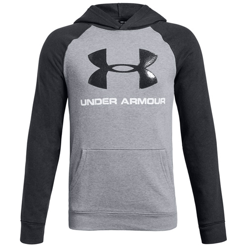 Boy's Rival Logo Hoodie, Heather Gray, swatch