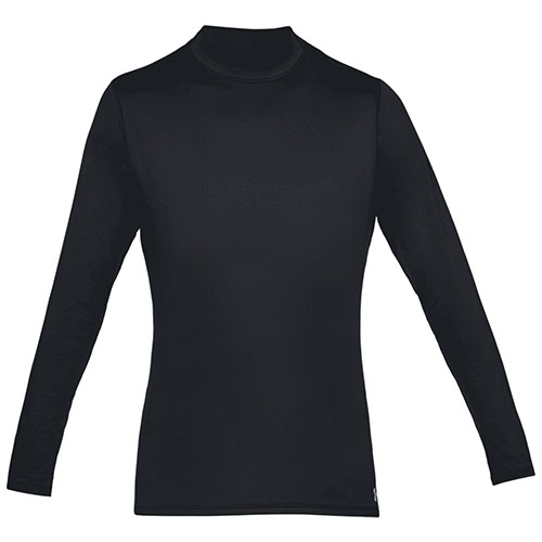 Men's Long Sleeve ColdGear Armour Mock Neck Shirt, Black, swatch