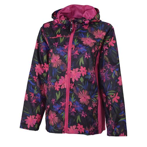 Women's Floral Pattern Jacket, Black/Pink, swatch