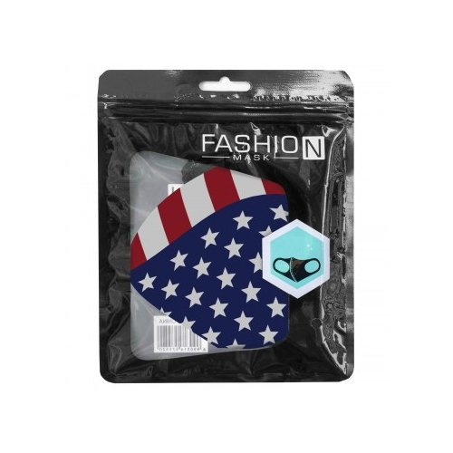 Washable Fashion Fabric Face Cover, Red, White And Blue, swatch