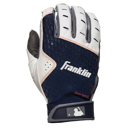 Men's MLB 2nd Skinz Batting Gloves, Gray/Navy, swatch