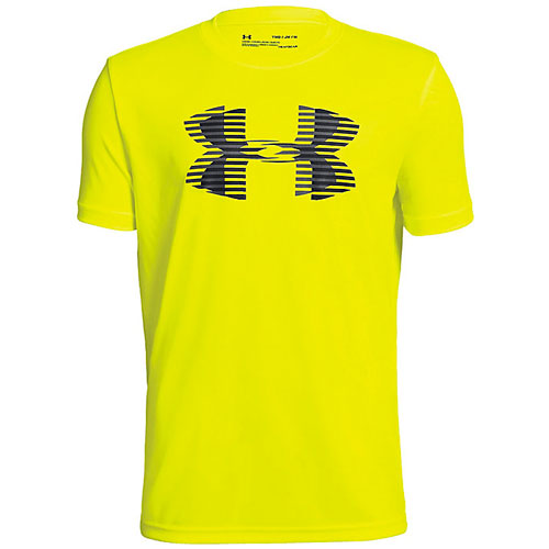 Boy's Tech Big Logo T-Shirt, Neon Yellow, swatch