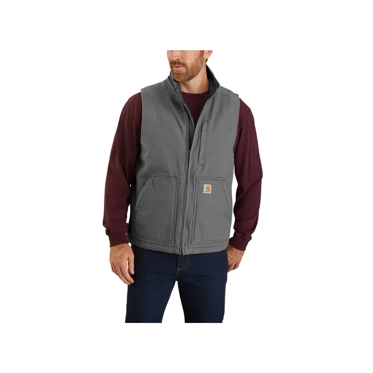 Men's Washed Duck Mock Neck Vest, Dark Gray,Pewter,Slate, swatch