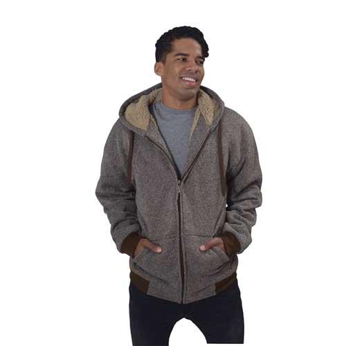 Men's Heathered Sherpa Full Zip Hoodie, Brown, swatch