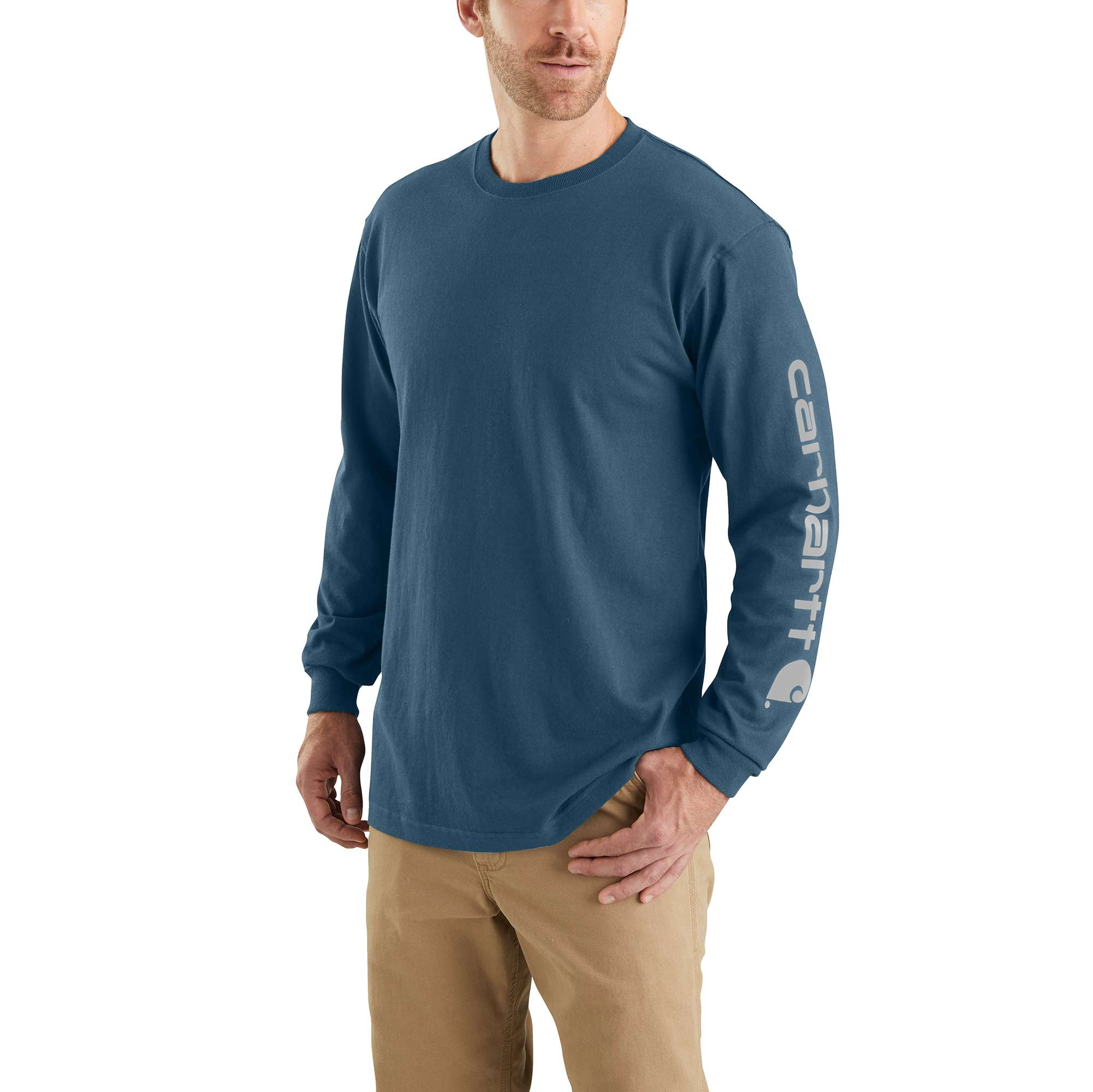 Men's Workwear Long-Sleeve Graphic Logo T-Shirt, Blue, swatch