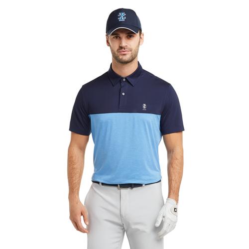 Men's Qualifier Color Block Golf Polo, Blue, swatch