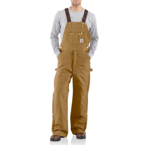 Men's Duck Zip-to-Thigh Bib Quilt Lined Overall, Brown, swatch