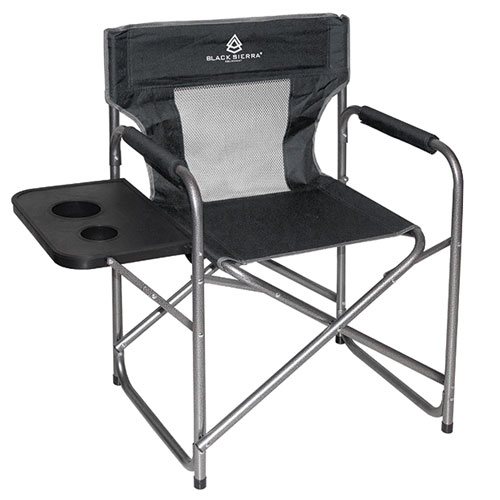 Mesh Director's Chair With Table, Black, swatch