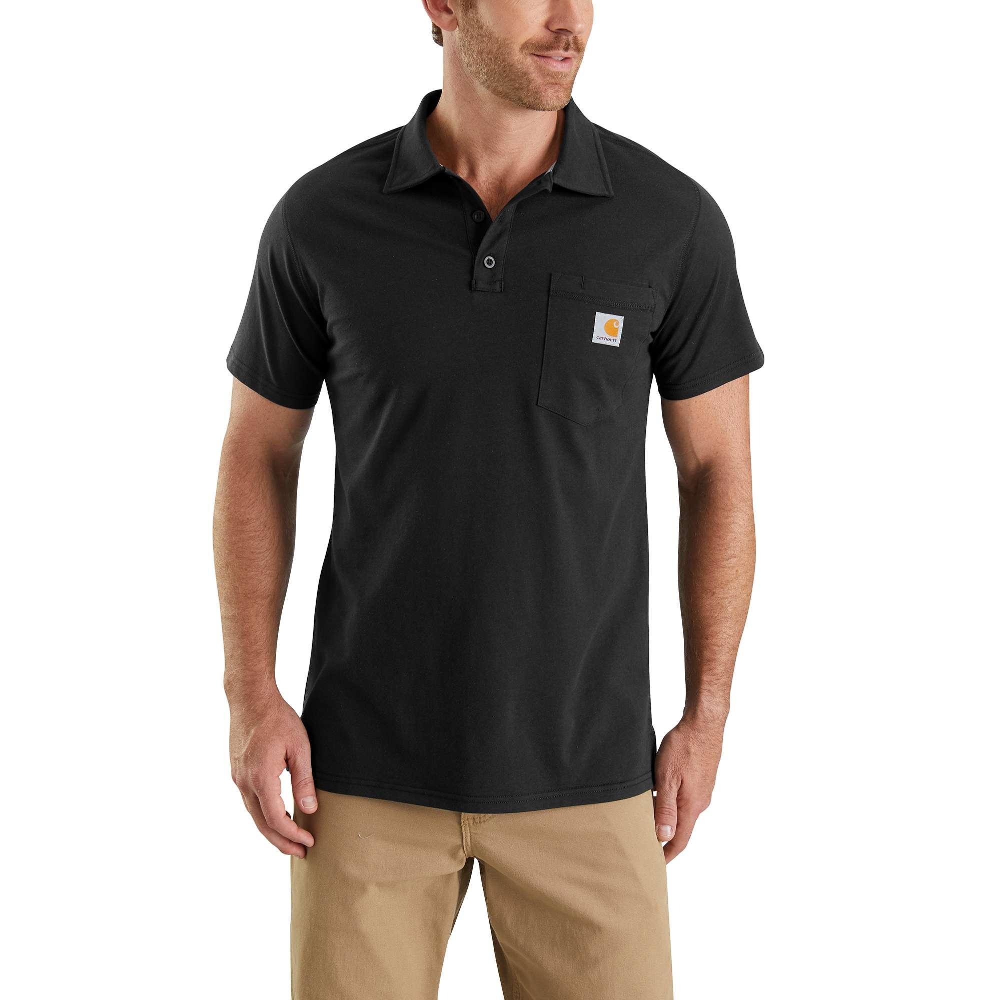 Men's Force Cotton Delmont Pocket Polo, Black, swatch