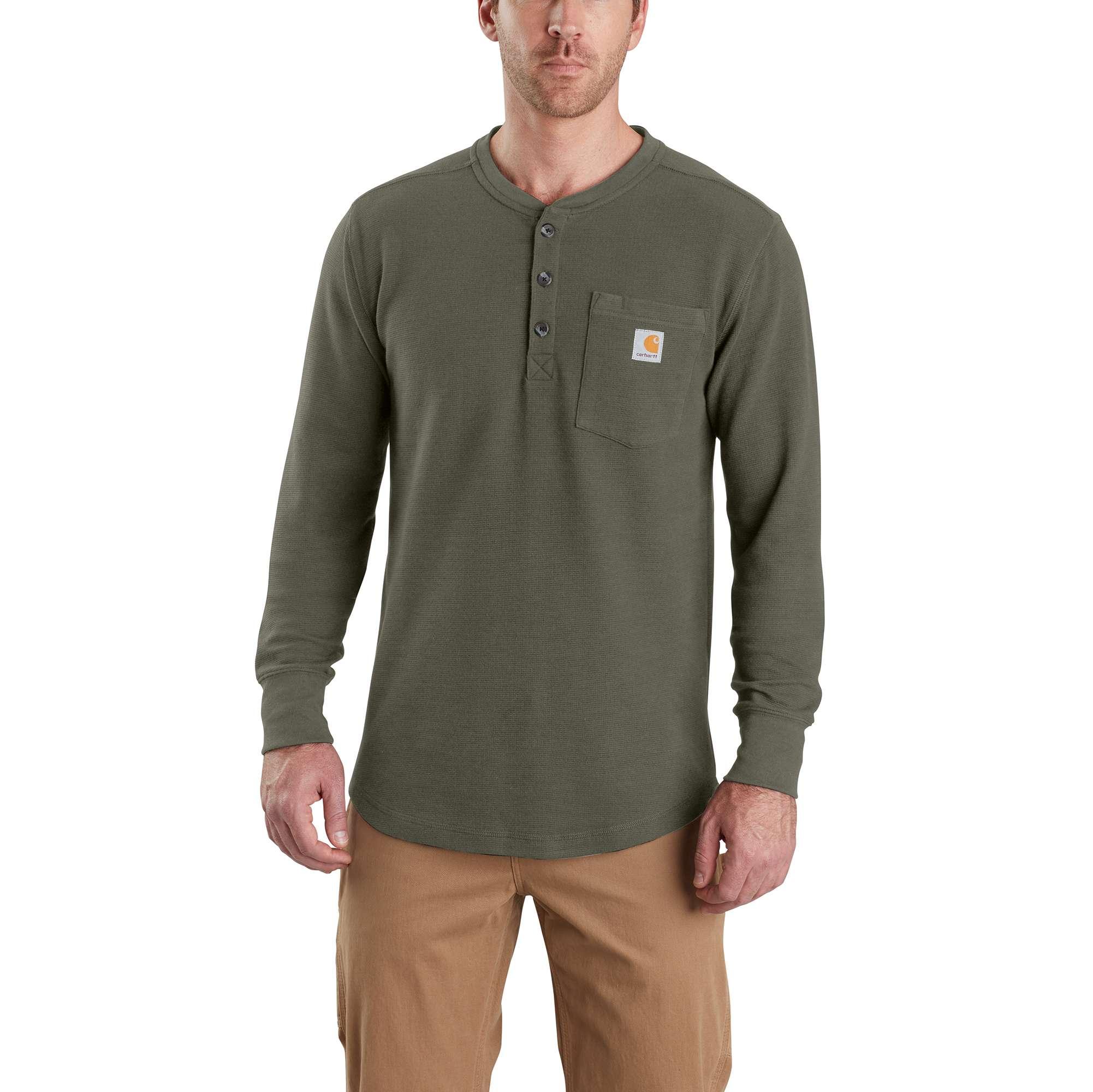 Men's Tilden Long Sleeve Henley Shirt, Moss, swatch