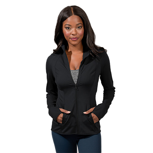 Women's Flared Bottom Active Jacket, Black, swatch
