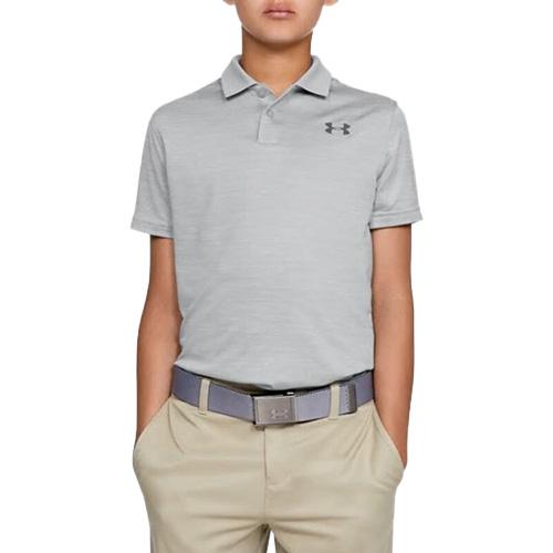 Boys' Performance Textured Golf Polo, Gray, swatch