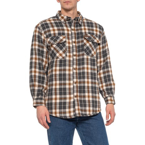 Men's Faux Sherpa Lined Flannel Shirt Jacket, Brown, swatch