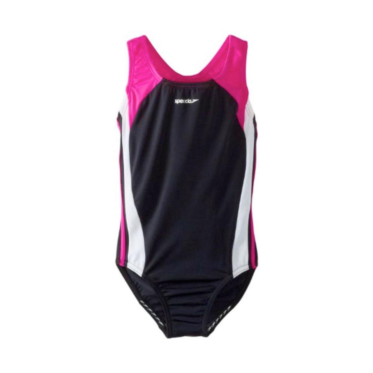 Girls' Swimsuit One Piece Infinity Splice Swimsuit, Black/Pink, swatch