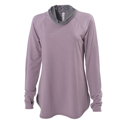 Women's Baby French Terry Cowl Neck, Light Purple, swatch