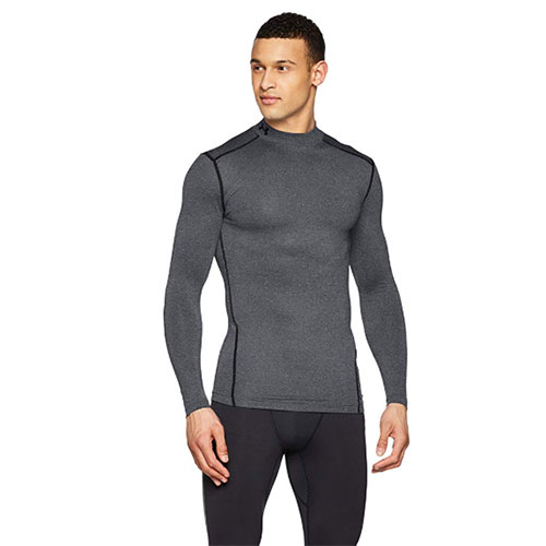 Men's ColdGear EVO Fitted Mock Long Sleeve Shirt, Charcoal,Smoke,Steel, swatch
