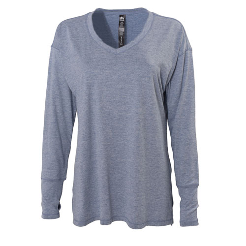 Long Sleeve Peached with Slit V-neck, Blue, swatch
