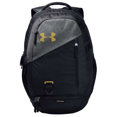 Under Armour Hustle 4.0 Backpack, Black/Gold, swatch
