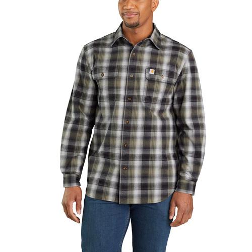 Men's Long Sleeve Hubbard Flannel Shirt, Black, swatch