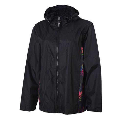 Women's Floral Pattern Jacket, Black, swatch