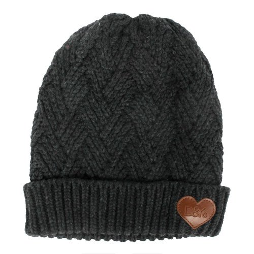 Women's Knitted Beanie, Black, swatch