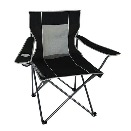 Mesh Folding Chair, Black, swatch