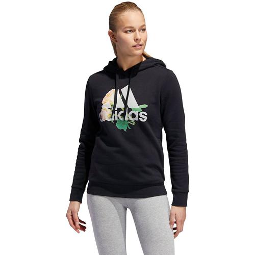 Women's Floral Badge of Sport Hoodie, Black, swatch