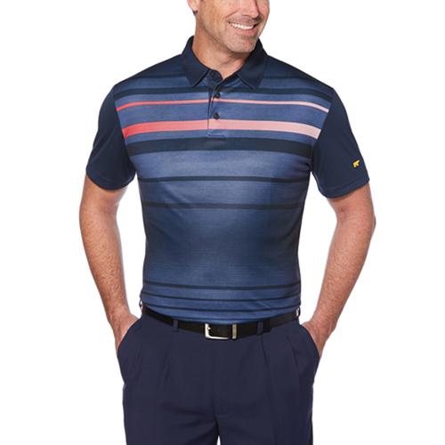 Men's Faded Print Golf Polo, Dark Blue, Midnight, swatch