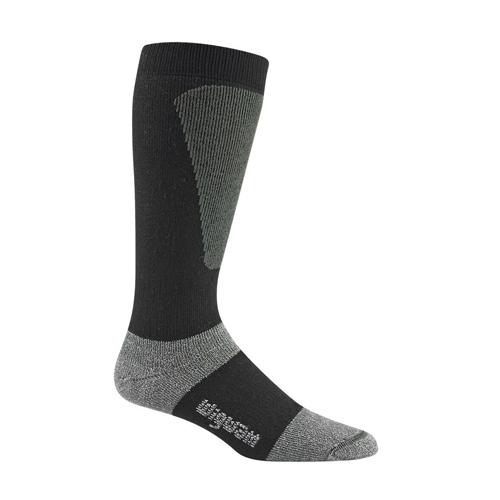 Men's Snow Sirocco Knee-High Performance Wool Ski Socks, Black, swatch