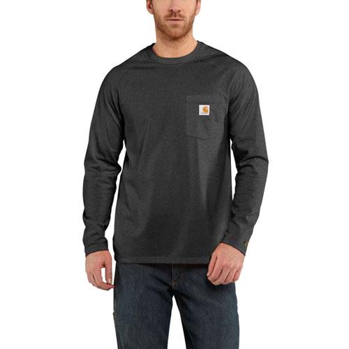 Men's Long Sleeve Force Cotton Tee, Charcoal,Smoke,Steel, swatch