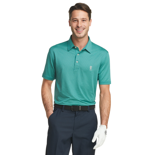 Men's Gingham Golf Polo, Green, swatch