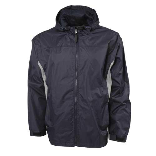 Men's Lightweight Rain Jacket, Navy/Gray, swatch