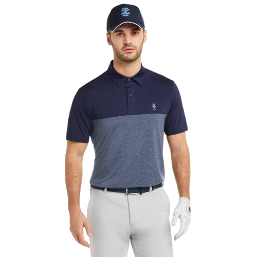 Men's Qualifier Color Block Golf Polo, Navy, swatch