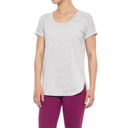 Short Sleeve Roll Cuff Popover Top, Heather Gray, swatch