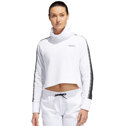Women's Funnel Neck Fleece Sweatshirt, White/Black, swatch