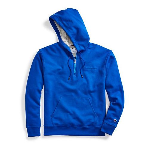 Men's Powerblend Embroidered Logo Fleece Quarter Zip Hoodie, Blue, swatch