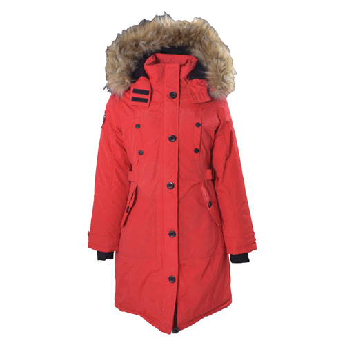 Women's Long Parka, Red, swatch