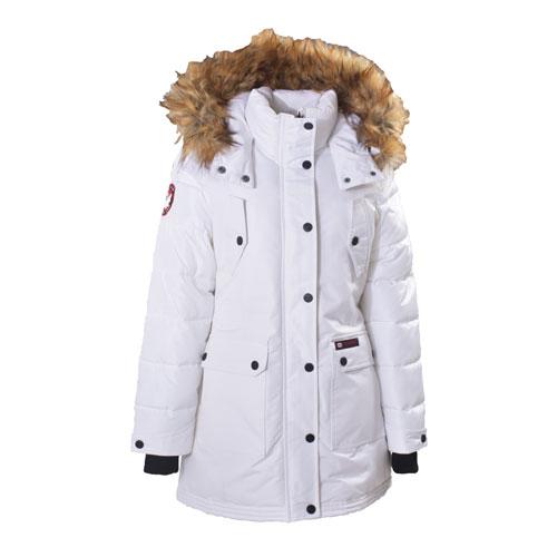 Women's Short Parka Ski Jacket, White, swatch
