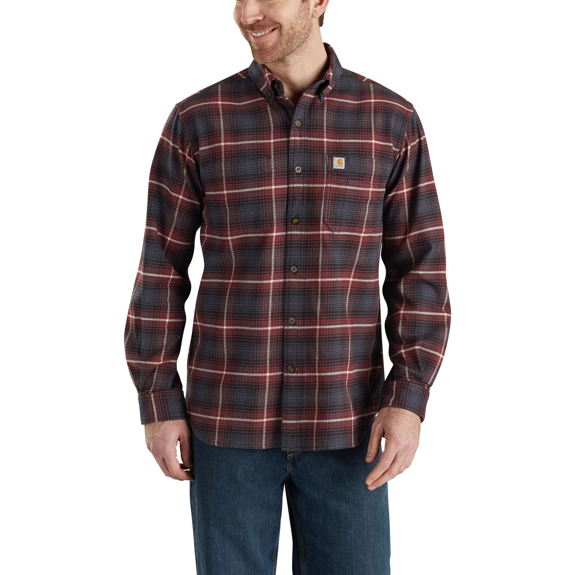Men's Rugged Flex¨ Hamilton Plaid Long Sleeve Shirt, Brick, swatch