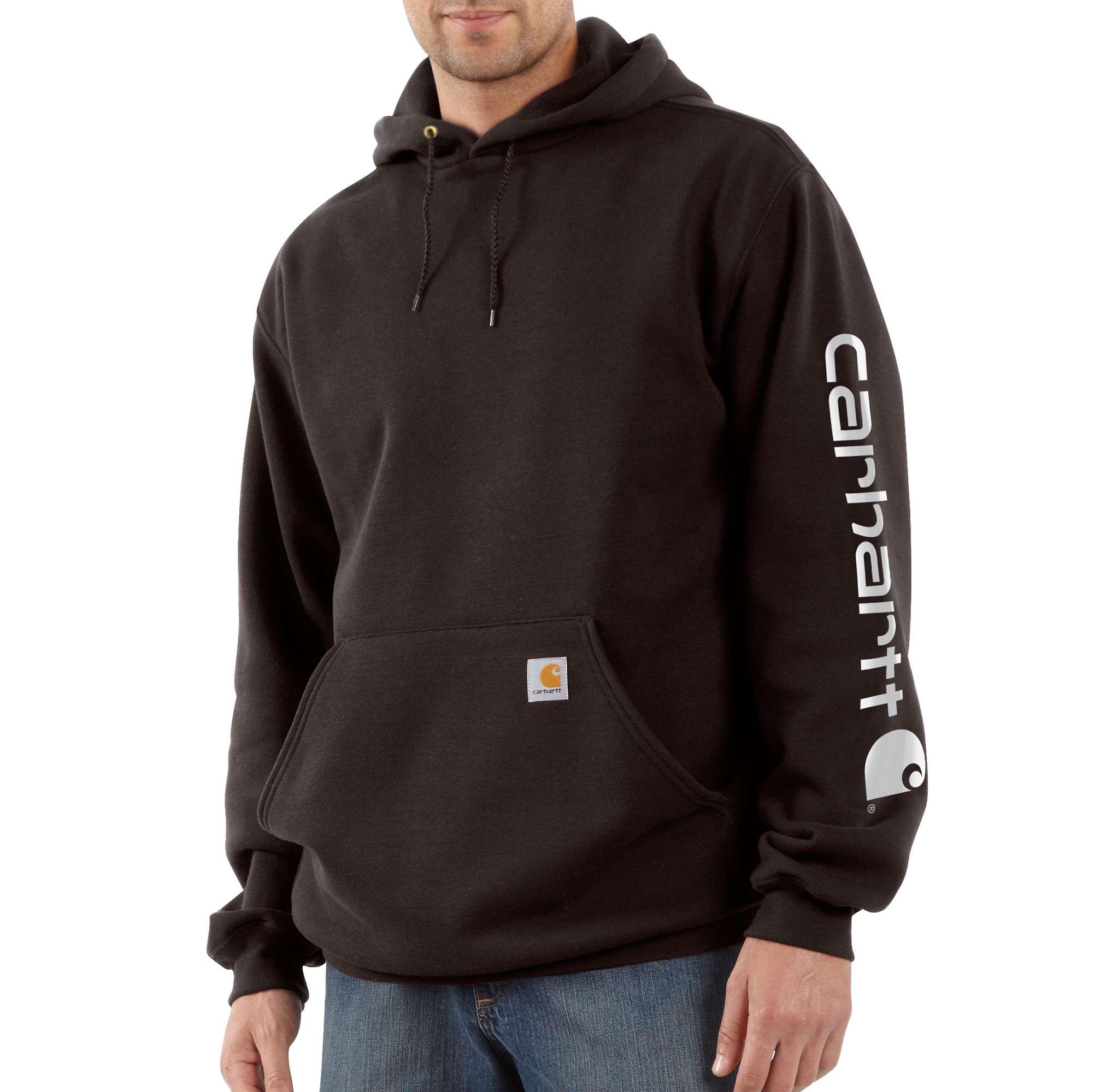 Men's Signature Sleeve Logo Hooded Sweatshirt, Dark Brown,Dark Natural, swatch