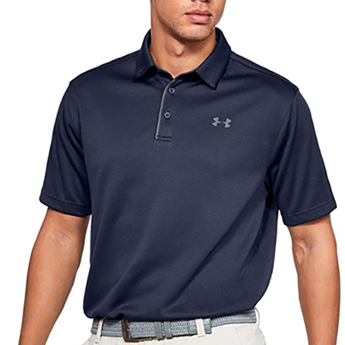 Men's Short Sleeve Tech Golf Polo, Navy, swatch